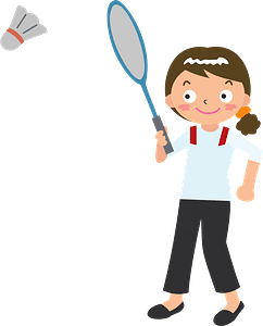 Woman is playing badminton clipart