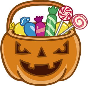 Halloween busket of candies clipart