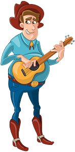 Cowboy with a guitar clipart
