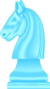 Blue chess knight clipart