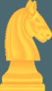 Yellow chess knight clipart