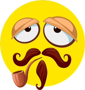 Smiley with mustache and pipe clipart