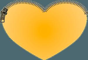 Orange heart with zip clipart