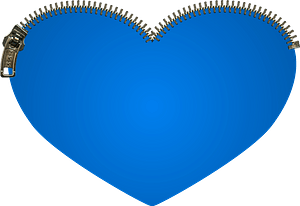 Blue heart with zip clipart