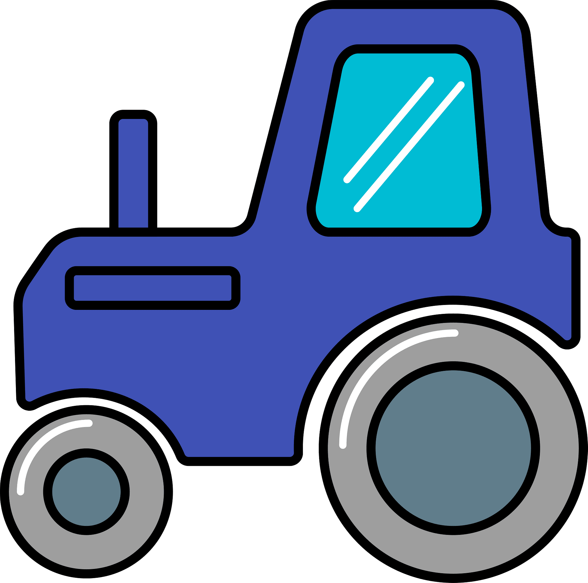Transparent Tractor Clipart - Clipart Blue Tractor, HD Png Download -  kindpng