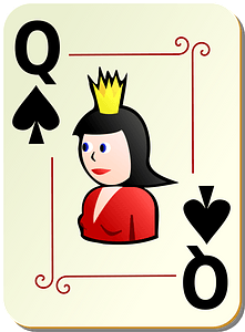 Ornamental Deck: Queen of Spades clipart