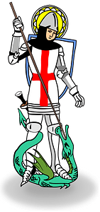 Saint George slaying dragon clipart