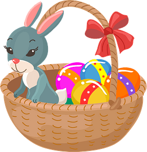 Bunny in the Easter basket clipart