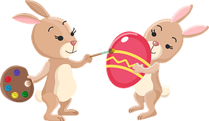 Rabbits painting eggs clipart