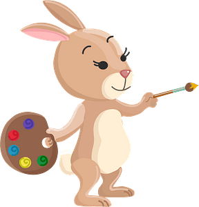 Rabbit painter clipart