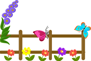 Fence with flowers and butterflies clipart