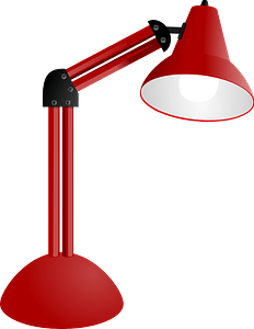 Red modern desk lamp clipart
