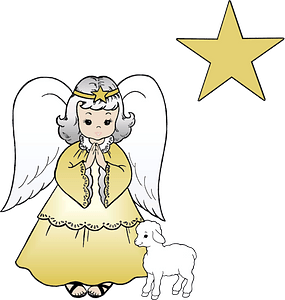 Christmas angel with lamb clipart