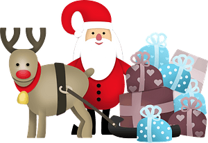 Santa Claus and Christmas reindeer clipart