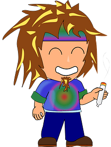 Hippie with a joint clipart