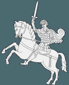 Statue knight on horseback clipart