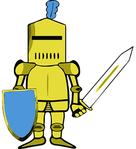 Knight in golden armor clipart
