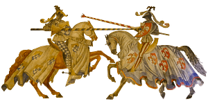 Knights on horses dueling clipart