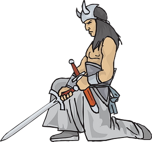Warrior with a sword clipart
