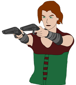 Woman with guns clipart