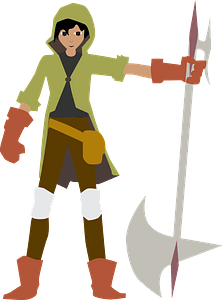 Man with a halberd clipart