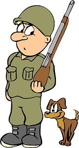 Soldier with a dog clipart