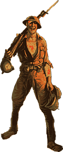 Soldier holding a rifle and helmets clipart