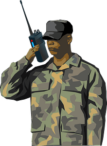 Soldier with walkie-talkie clipart