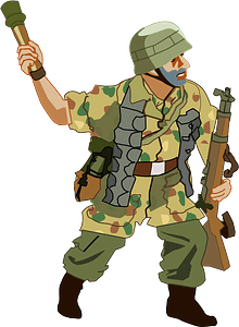 Soldier throwing hand-grenade clipart