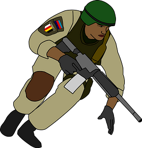 Soldier during battle clipart