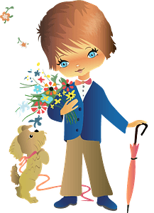 Boy with a dog clipart