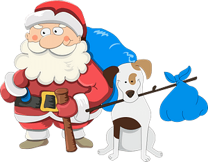 Christmas Santa with a Dog clipart