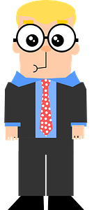 Nerd wearing suit and glasses clipart