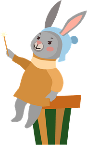 Bunny with a magic wand clipart
