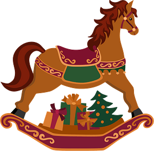 Cristmas rocking horse with gifts clipart