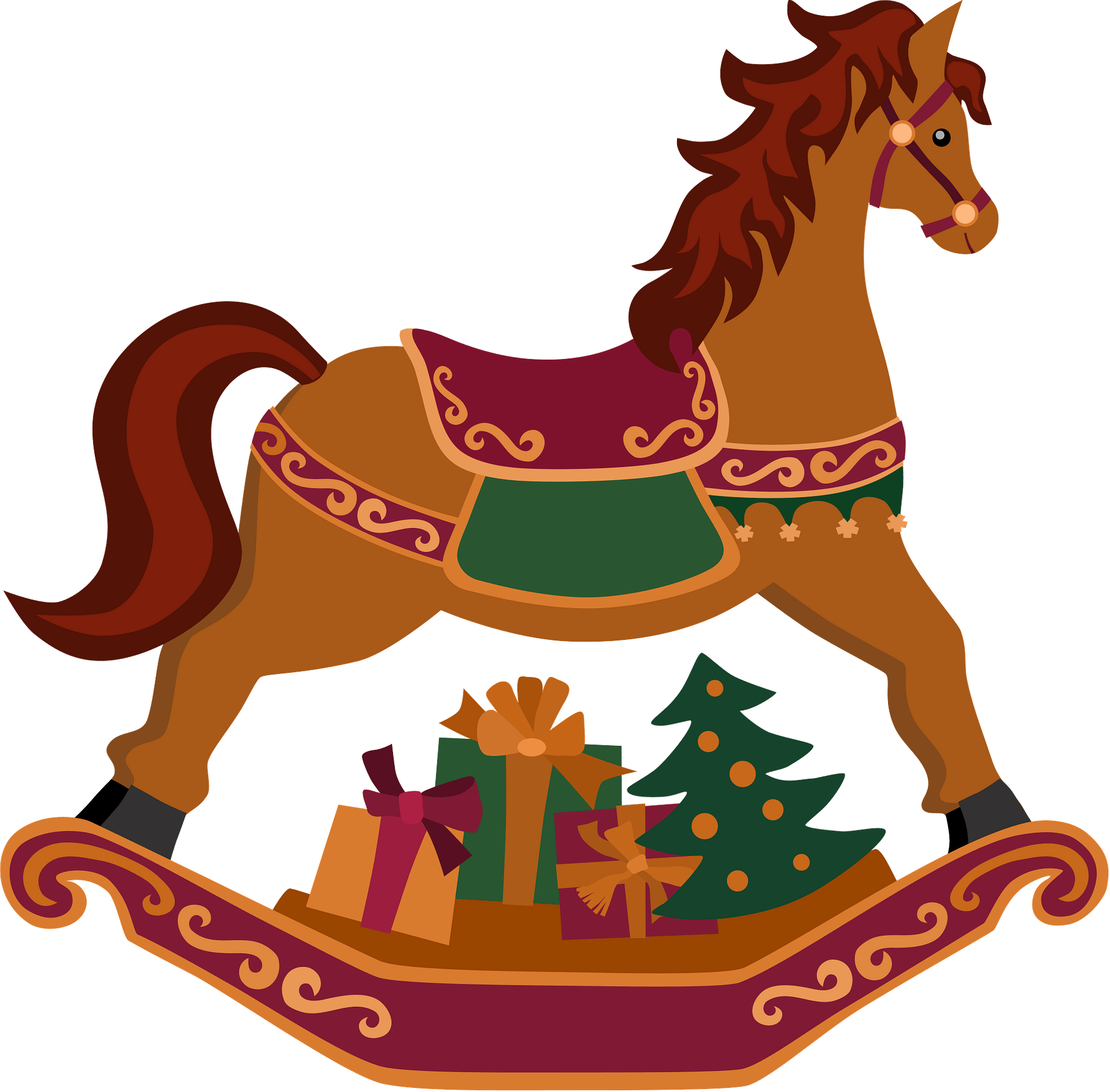 Cristmas Rocking Horse With Gifts Clipart Free Download Transparent Png Creazilla