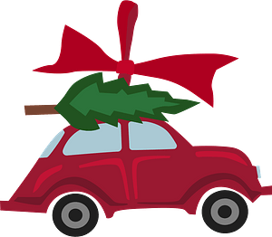 Toy car with christmas tree clipart