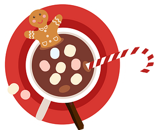 Gingerbread man in a cup of hot drink clipart