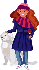 Girl with a dog clipart