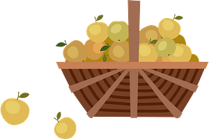 Basket with apples clipart