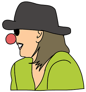 Laughing woman with a red nose clipart