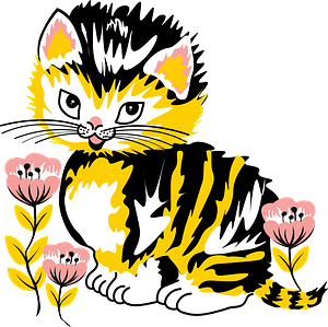 Kitten with flowers clipart