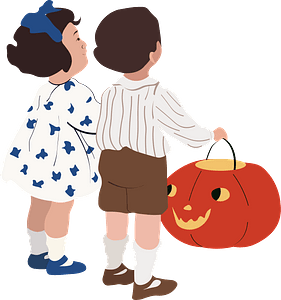 Children with Pumpkin clipart