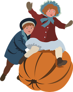 Vintage Thanksgiving Postcard - Boy and Girl with a pumpkin clipart