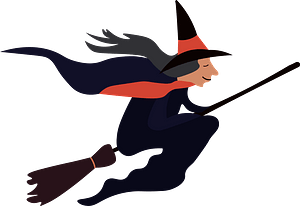 Witch on a broom clipart