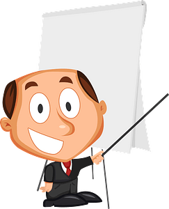 Businessman making presentation clipart