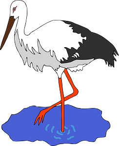 White stork in a pond clipart
