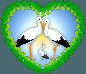 Stork family clipart
