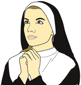 Nun praying clipart