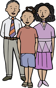 Girl with parents clipart